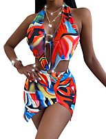 cheap -Women's One Piece Monokini Swimsuit Push Up Print Color Block Tie Dye White Green Rainbow Swimwear Padded Crop Top Bathing Suits New Casual Sexy
