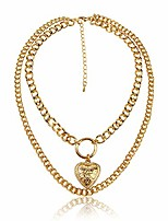 cheap -the woo's layered simulated chain choker shell map heart crystal pendant necklace hollow out round circle punk chunky gold long chain statement choker necklace for women girls jewelry-heart