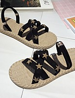 cheap -Women's Sandals Boho Bohemia Beach Flat Heel Round Toe PU Black Beige