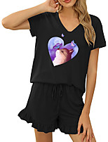 cheap -Women Basic Streetwear Cat Heart Vacation Casual / Daily Two Piece Set Tracksuit T shirt Loungewear Shorts Drawstring Ruffle Print Tops