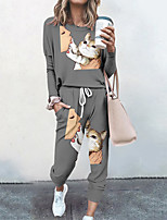 cheap -Women's Basic Streetwear Cat Vacation Casual / Daily Two Piece Set Tracksuit T shirt Pant Loungewear Jogger Pants Drawstring Print Tops