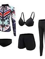 cheap -Women's Rash Guard Dive Skin Suit Spandex Swimwear UV Sun Protection Quick Dry Long Sleeve 5-Piece - Swimming Diving Surfing Snorkeling Autumn / Fall Spring Summer