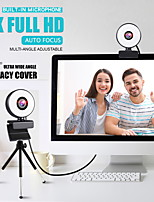 cheap -Webcam Mini Web Camera For Computer Laptop With Microphone Ring Light Video Webcam 1080P 2K Live Broadcast Auto Focus Web Cam 2K Version