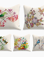 cheap -Cushion Cover 5PC Linen Soft Decorative Square Throw Pillow Cover Cushion Case Pillowcase for Sofa Bedroom 45 x 45 cm (18 x 18 Inch) Superior Quality Machine Washable Double Side Print Bird