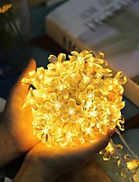 cheap -6m 40LED Cherry Blossom Fairy Light String LEDs String Fairy Lights Crystal Flowers Garland Outdoor Wedding Decoration AA Power