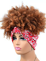 cheap -foreign trade red headscarf wig headgear brown black light brown small curly wig headgear hair with explosive head african headgear