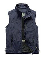 cheap -Men's Hiking Vest / Gilet Fishing Vest Sleeveless V Neck Vest / Gilet Jacket Top Outdoor Quick Dry Lightweight Breathable Sweat wicking Autumn / Fall Spring Summer Nylon Polyester Solid Color Black