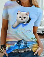 cheap -Women's Holiday 3D Cat T shirt Cat Graphic 3D Print Round Neck Basic Tops Blue