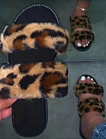 cheap -Women's Sandals Flat Heel Round Toe Rubber Pom-pom Solid Colored Leopard Black Pink