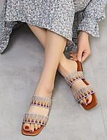 cheap -Women's Sandals Flat Heel Square Toe Canvas Color Block White Black Red