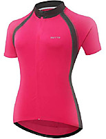 cheap -women's short sleeve bike riding shirts cycling jersey with pockets (medium, 6011aw pink)