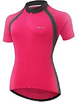 cheap -women's short sleeve bike riding shirts cycling jersey with pockets (medium, 6011aw pink)