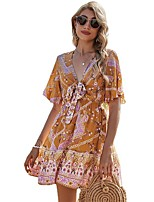 cheap -amazon 2021 spring romantic bowknot a-line skirt tie v-neck holiday print dress female mp-671