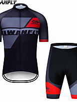 cheap -CAWANFLY Boys' Short Sleeve Cycling Padded Shorts Cycling Jersey with Bib Shorts Cycling Jersey with Shorts Spandex Red / White Black / Red Black / Yellow Bike Shorts Breathable Sports Geometic
