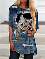 baratos -Mulheres Vestido T shirt Mini vestido curto Azul Manga Curta Gato Animal Estampado Outono Verão Decote Redondo Casual 2021 S M L XL XXL 3XL