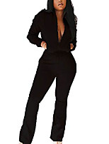 cheap -Womens Two Piece Jogging Outfits Full Zip Long Sleeve Crop Tops High Waisted Flared Leggings with Pockets
