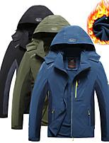 cheap -Men's Hiking Jacket Ski Jacket Hiking Windbreaker Autumn / Fall Winter Spring Outdoor Patchwork Thermal Warm Windproof Fleece Lining Breathable Hoodie Winter Jacket Top Fleece Ski / Snowboard Fishing