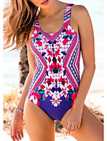 cheap -Women's One Piece Swimsuit Spandex Swimwear Bodysuit Breathable Quick Dry Sleeveless Swimming Surfing Water Sports Floral / Botanical Summer