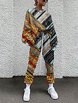 cheap -Women's Streetwear Cinched Print Going out Casual / Daily Two Piece Set Sweatshirt Tracksuit Pant Loungewear Jogger Pants Drawstring Print Tops
