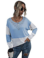 cheap -makemechic women's color block drop shoulder round neck pullover sweater tops blue white m