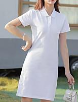 cheap -Women's Sports Dress Knee Length Dress White Black Navy Blue Short Sleeve Solid Color Summer Shirt Collar Casual Cotton 2021 S M L XL XXL 3XL