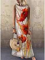 cheap -Women's Shift Dress Maxi long Dress Red Sleeveless Floral Print Print Spring Summer Round Neck Casual 2021 S M L XL XXL 3XL