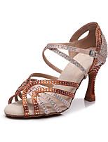 cheap -Women's Latin Shoes Heels High Heel Crystal / Rhinestone Crystal Heel High Heel Open Toe Dark Brown Black Buckle Glitter Crystal Sequined Jeweled / Satin / Satin / Silk