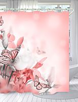 cheap -Pink Iris Digital Printing Shower Curtain Shower Curtains Hooks Modern Polyester New Design