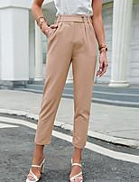 cheap -Women's Basic Soft Comfort Casual Daily Skinny Pants Plain Full Length Classic Pocket Blushing Pink Camel Gray