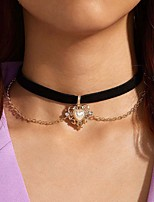 cheap -Women's Couple's Choker Necklace Pendant Necklace Classic Heart Statement Romantic Vintage Classic Fabric Alloy Black 35 cm Necklace Jewelry 1pc For Party Evening Street Gift Engagement Birthday Party