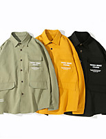 cheap -Men's Hiking Jacket Hiking Shirt / Button Down Shirts Long Sleeve Shirt Coat Top Outdoor Multi-Pockets Quick Dry Lightweight Breathable Autumn / Fall Spring Summer Cotton Black Yellow Green Hunting