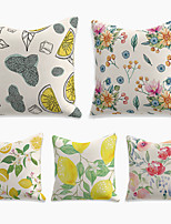 cheap -Double Side Cushion Cover 5PC Linen Soft Decorative Square Throw Pillow for Sofa Bedroom 45 x 45 cm (18 x 18 Inch) Superior Quality Machine Washable  Print Summer Fruit Flower Citrus