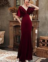 cheap -Mermaid / Trumpet Beautiful Back Vintage Wedding Guest Formal Evening Dress V Neck Half Sleeve Floor Length Velvet with Beading 2021