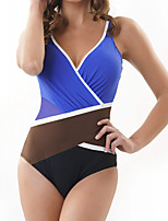cheap -Women's One Piece Swimsuit Spandex Swimwear Bodysuit Quick Dry Breathable Sleeveless Backless - Swimming Surfing Water Sports Patchwork Summer