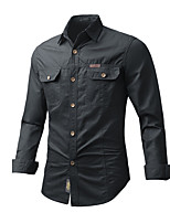 cheap -Men's Hiking Jacket Hiking Shirt / Button Down Shirts Long Sleeve Shirt Coat Top Outdoor Quick Dry Lightweight Breathable Soft Autumn / Fall Spring Summer Cotton Solid Color Black Yellow Army Green