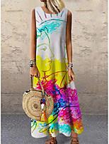cheap -Women's Shift Dress Maxi long Dress Rainbow Sleeveless Print Color Block Print Spring Summer Round Neck Casual 2021 S M L XL XXL 3XL