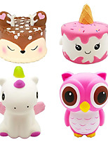 cheap -4PCS Jumbo Slow Rising Squishies Kawaii Cute Deer Cake Unicorn Cake Dinosaur Owl Cream Scented Squishy Kids Toys Doll Stress Relief Toy Props Decorative Props Large