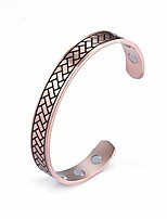 cheap -lusso stainless steel magnetic therapy energy cuff bangle engraving geometric pattern health care amulet bracelets for women men (rose gold-1)