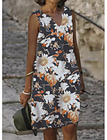 baratos -Mulheres Vestido de turno Vestido no Joelho Branco Preto Azul Cáqui Sem Manga Floral Estampado Verão Decote V Casual 2021 S M L XL XXL