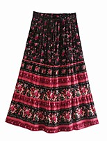 cheap -Women's Holiday Vacation Vintage Boho Skirts Floral Graphic Ruffle Print Black Blushing Pink Green