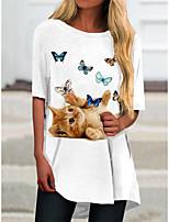 cheap -Women's T Shirt Dress Tee Dress Short Mini Dress White Short Sleeve Cat Animal Print Fall Summer Round Neck Casual 2021 S M L XL XXL 3XL