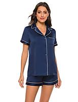 cheap -Women's Casual Imitated Silk Loungewear Short Sleeve 2 Piece Spring & Summer Textured S Black