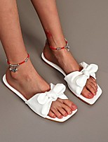 cheap -Women's Slippers & Flip-Flops Flat Heel Open Toe PU Solid Colored White Black Blue