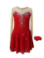 cheap -Figure Skating Dress Women's Girls' Ice Skating Dress Burgundy Patchwork Asymmetric Hem Spandex High Elasticity Competition Skating Wear Crystal / Rhinestone Long Sleeve Ice Skating Figure Skating