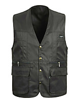 cheap -Men's Fishing Vest Hiking Fleece Vest Sleeveless V Neck Vest / Gilet Winter Jacket Top Outdoor Thermal Warm Windproof Fleece Lining Quick Dry Autumn / Fall Winter Spring Polyester Solid Color Black