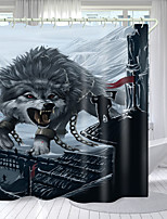 cheap -Snow Wolf Digital Printing Shower Curtain Shower Curtains  Hooks Modern Polyester New Design