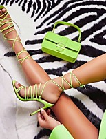 cheap -Women's Sandals Stiletto Heel Round Toe PU Synthetics Yellow Green