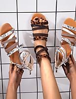 cheap -Women's Sandals Flat Heel Round Toe PU Leopard Snake White Brown