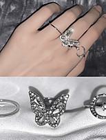 cheap -fashion zircon butterfly moon open ring adjustable niche design cold wind finger ring female