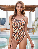 cheap -Women's One Piece Swimsuit Nylon Swimwear Bodysuit Quick Dry Breathable Sleeveless Swimming Surfing Water Sports Leopard Summer